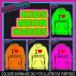 I LOVE HEART HORSES NEON FLUORESCENT BRIGHT ELECTRIC KIDS HOODIE HOODY